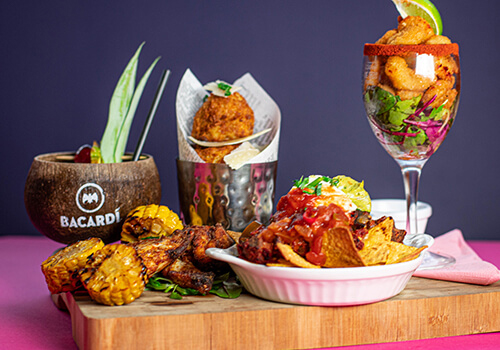 a full selection of food and cocktails